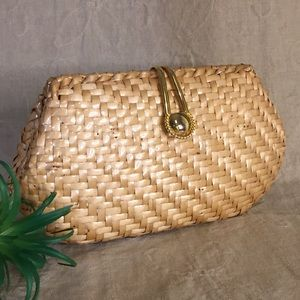 Vintage Vanessa Lacquered Basket Clutch With Chain